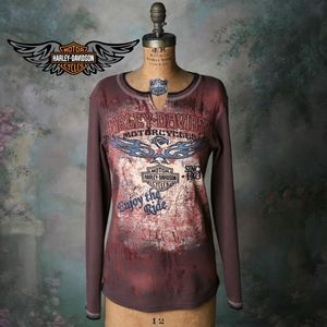 Harley-Davidson graphic embellished long sleeve T